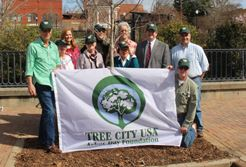 people with Tree City flag