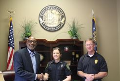 Officer Fitchjarrell with Mayor Perriman and Chief Ashburn