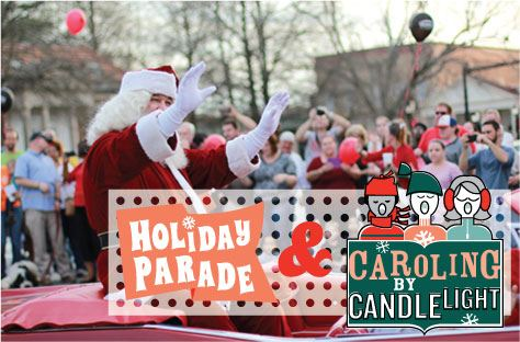 Holiday Parade and Caroling by Candlelight logos, photo of Santa in parade
