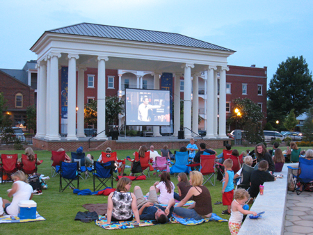 Movie screen at the Harris Pavilion in Town Park.