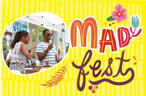 Madison Fest logo with people sampling food