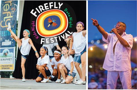 Firefly Festival logo with kids dancing and singer