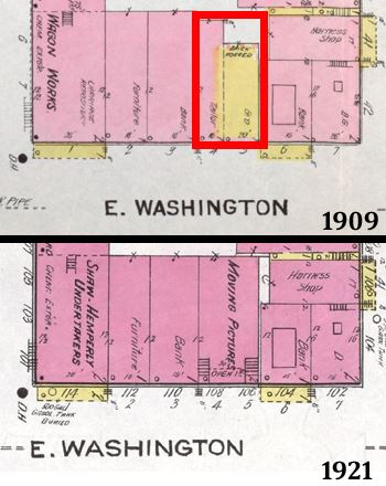 1909 and 1921 Fire Insurance Maps showing movie theater location